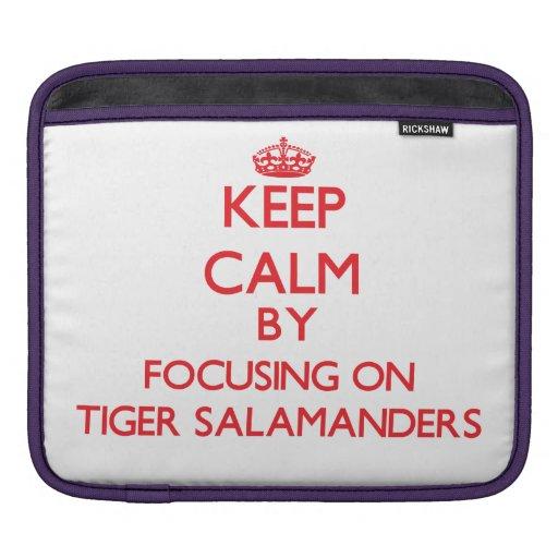 Guarde la calma centrándose en Salamanders de tigr Funda Para iPads