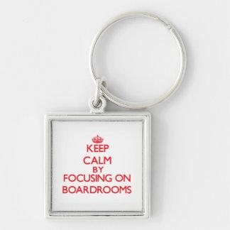 Guarde la calma centrándose en salas de reunión llavero personalizado