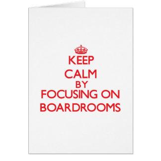 Guarde la calma centrándose en salas de reunión tarjeton
