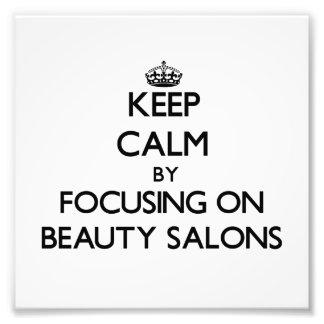 Guarde la calma centrándose en salones de belleza arte con fotos