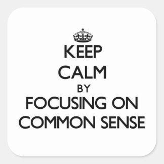 Guarde la calma centrándose en sentido común colcomanias cuadradas