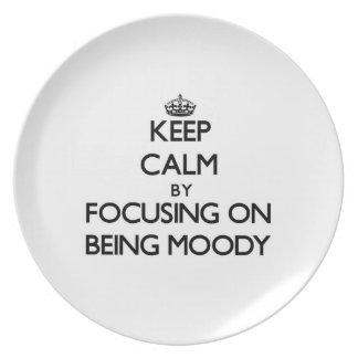 Guarde la calma centrándose en ser cambiante plato de comida