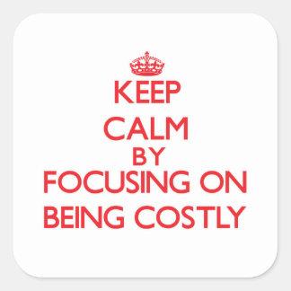 Guarde la calma centrándose en ser costoso colcomania cuadrada