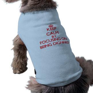 Guarde la calma centrándose en ser dignificado camisas de mascota