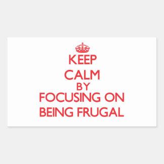 Guarde la calma centrándose en ser frugal rectangular pegatinas