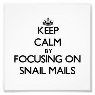 Guarde la calma centrándose en snail mail fotografias