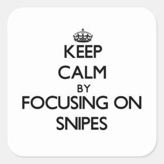 Guarde la calma centrándose en Snipes Pegatinas Cuadradas Personalizadas
