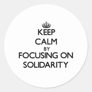 Guarde la calma centrándose en solidaridad pegatina redonda
