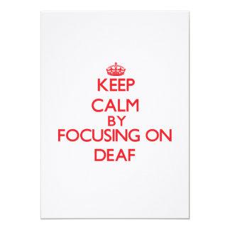 Guarde la calma centrándose en sordo invitación 12,7 x 17,8 cm