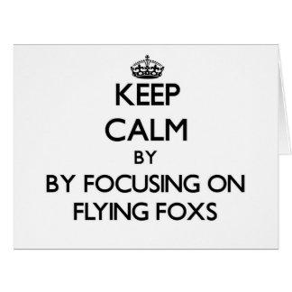 Guarde la calma centrándose en volar Foxs Tarjeta De Felicitación Grande