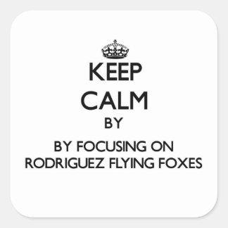 Guarde la calma centrándose en zorros de vuelo de pegatina cuadrada