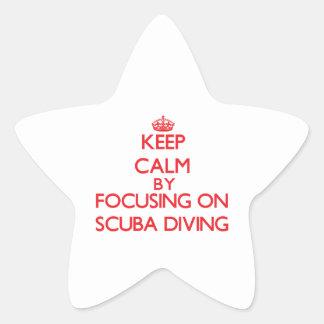 Guarde la calma centrándose encendido en buceo con calcomanías forma de estrella personalizadas