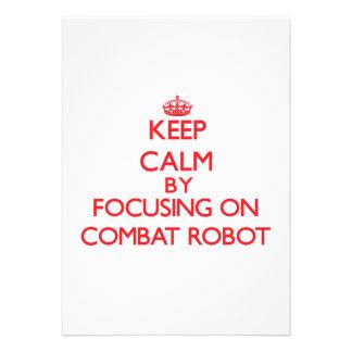 Guarde la calma centrándose encendido en el robot anuncios personalizados