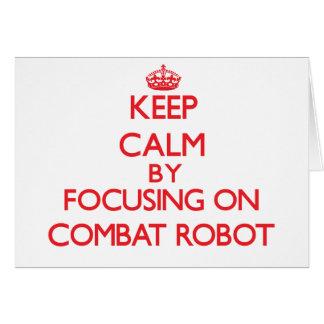 Guarde la calma centrándose encendido en el robot felicitación