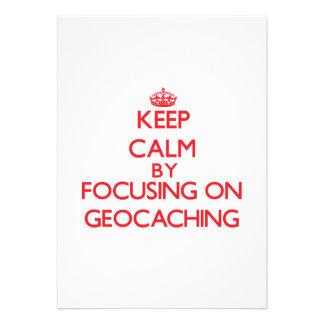 Guarde la calma centrándose encendido en Geocachin Comunicados Personalizados
