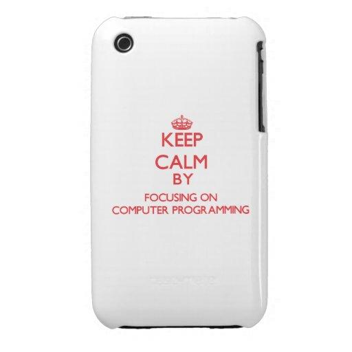 Guarde la calma centrándose encendido en la progra iPhone 3 fundas