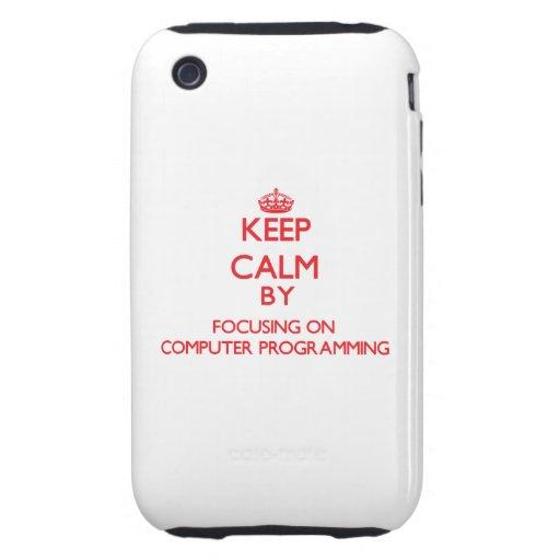 Guarde la calma centrándose encendido en la progra iPhone 3 tough cobertura