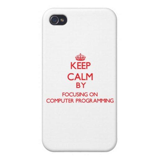 Guarde la calma centrándose encendido en la progra iPhone 4 cárcasa