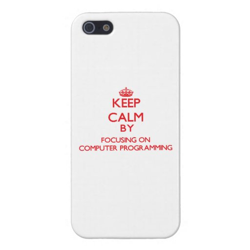 Guarde la calma centrándose encendido en la progra iPhone 5 cobertura