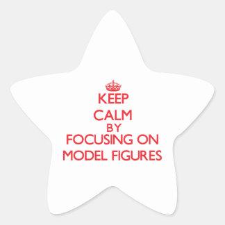 Guarde la calma centrándose encendido en las calcomanía forma de estrella