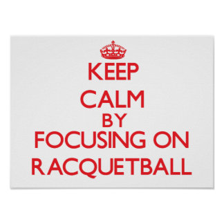 Guarde la calma centrándose encendido en Racquetba Impresiones