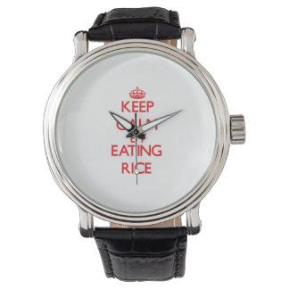 Guarde la calma comiendo el arroz reloj de mano
