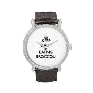 Guarde la calma comiendo el bróculi reloj