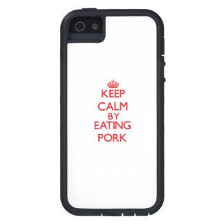 Guarde la calma comiendo el cerdo iPhone 5 cobertura