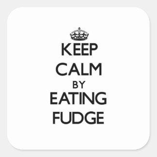 Guarde la calma comiendo el dulce de azúcar pegatina cuadrada