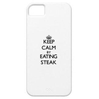 Guarde la calma comiendo el filete iPhone 5 protectores