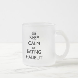 Guarde la calma comiendo el halibut taza cristal mate