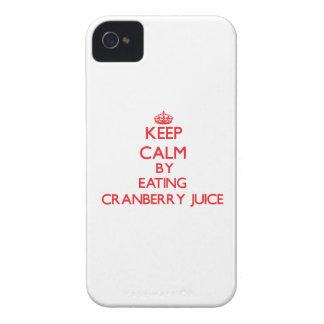 Guarde la calma comiendo el jugo de arándano iPhone 4 Case-Mate fundas