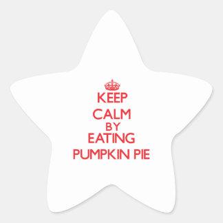 Guarde la calma comiendo el pastel de calabaza calcomanías forma de estrella