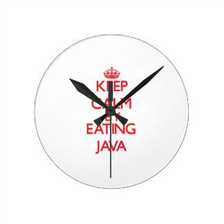 Guarde la calma comiendo Java Reloj
