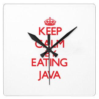 Guarde la calma comiendo Java Reloj De Pared
