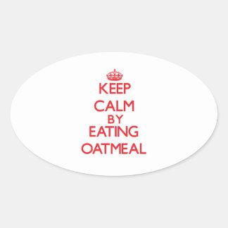 Guarde la calma comiendo la harina de avena calcomanías ovales personalizadas