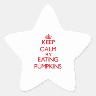 Guarde la calma comiendo las calabazas calcomanía cuadrada personalizada