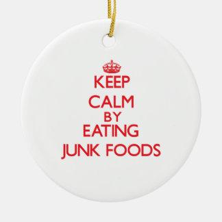 Guarde la calma comiendo las comidas de desperdici ornaments para arbol de navidad