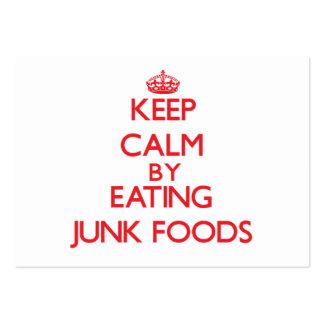Guarde la calma comiendo las comidas de desperdici tarjetas de visita