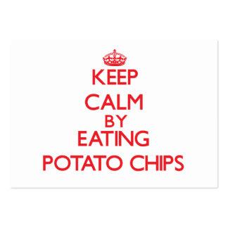 Guarde la calma comiendo las patatas fritas plantilla de tarjeta personal
