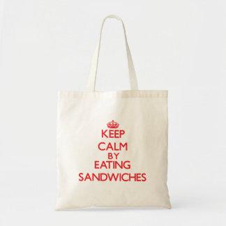 Guarde la calma comiendo los bocadillos bolsa tela barata