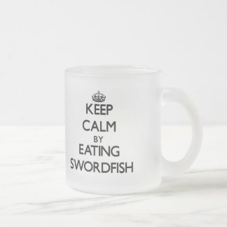 Guarde la calma comiendo peces espadas taza cristal mate