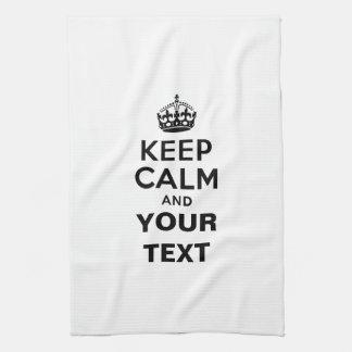 Guarde la calma con su texto toallas