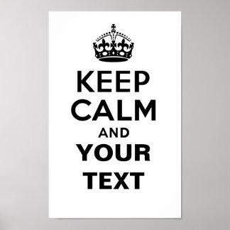 Guarde la calma con su texto póster