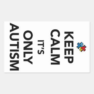 Guarde la calma - conciencia del autismo pegatina rectangular