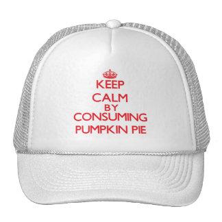 Guarde la calma consumiendo el pastel de calabaza gorras