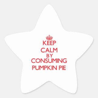Guarde la calma consumiendo el pastel de calabaza calcomanía forma de estrellae