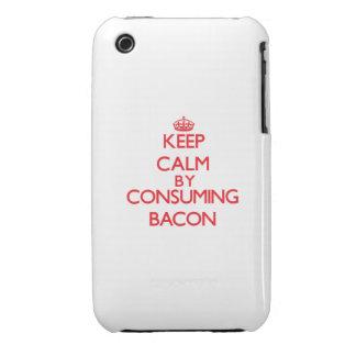 Guarde la calma consumiendo el tocino Case-Mate iPhone 3 protectores