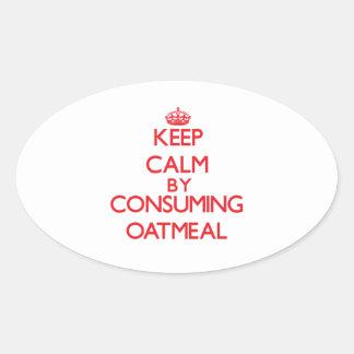 Guarde la calma consumiendo la harina de avena calcomanías de ovales personalizadas