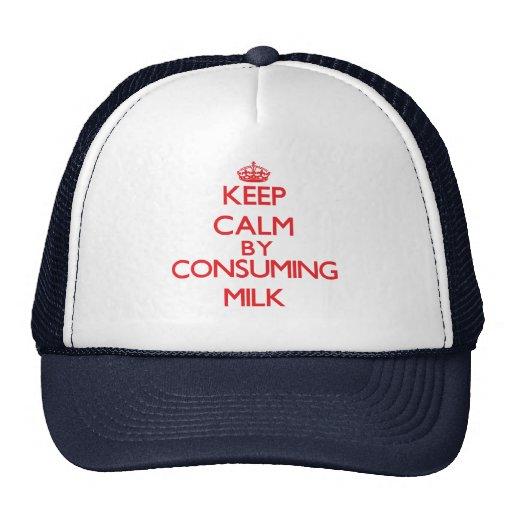 Guarde la calma consumiendo la leche gorra